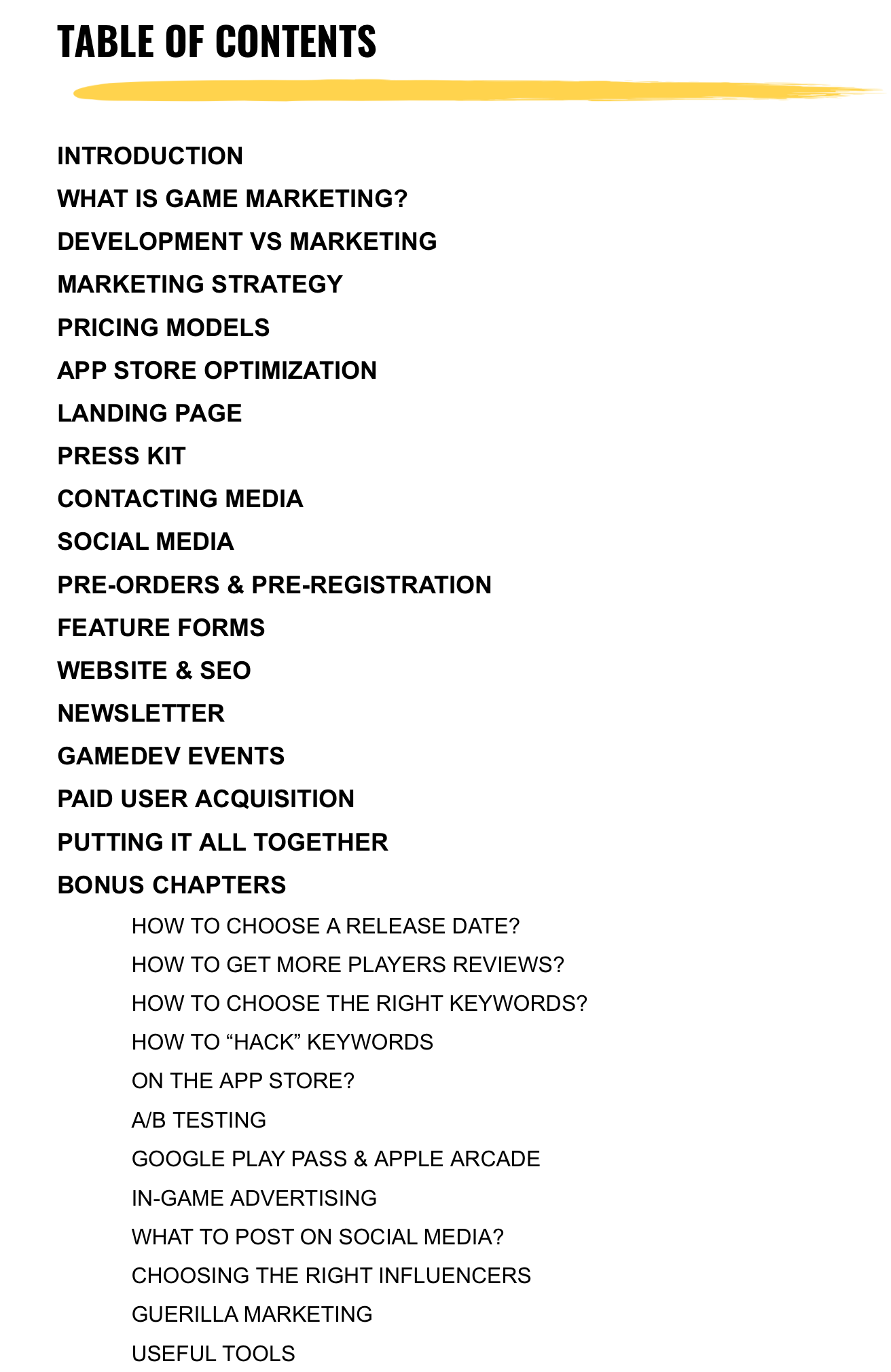 Mobile Games Marketing - Table of Contents